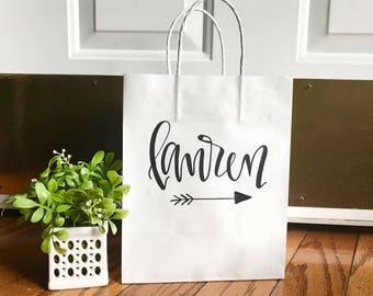 Custom name gift bag - bridesmaid gift bags, groomsman gift bags, wedding party gift bag, hand lettered, wedding gift bags, custom gift bag