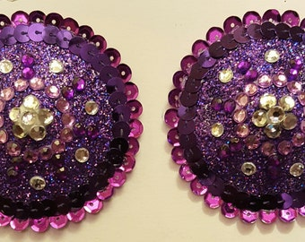 Violet Pasties with Sequins and Gems
