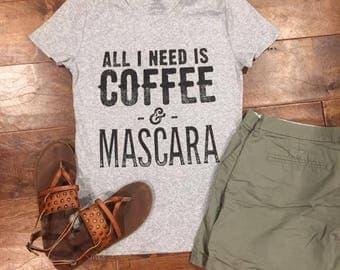 "Screen Printed ""Coffee and Mascara"""