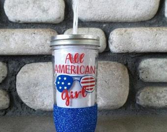 All American Girl Glitter Tumbler, All American Girl, Fourth of July Cup,4th of July Tumbler, BBQ cup, USA glitter tumbler, USA cup