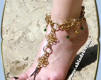 Crystabel chainmail slave anklet, Chainmaille barefoot sandal jewelry, Chain mail belly dance foot flower ankle jewelry