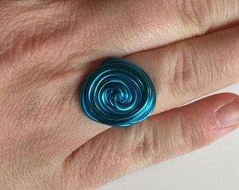 Light Blue Wire Statement Ring