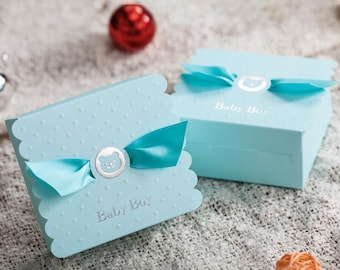 50 Blue Baby Shower Favors/DIY Blue Teddy Bear Baby Boy Gift Boxes/Its