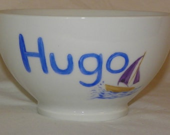 Bowl personalized in porcelain for breakfast,coffee,tea...