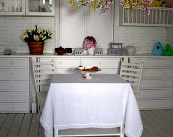 Table Clothes, Pure White Linen Table, Handmade Lacework, Linen Tablecloth, White Tablecloth, Linen Tablerunner, Lace trims