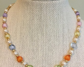"""Vintage Beads -  """"Happy Go Lucky""""  Upcycled Necklace - Jewelry Made with Vintage/ Recycled Materials"""