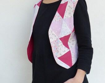 Bolero sleeveless - recycled fabrics - unique piece