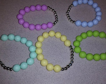 Silicone and Silver beaded bracelet