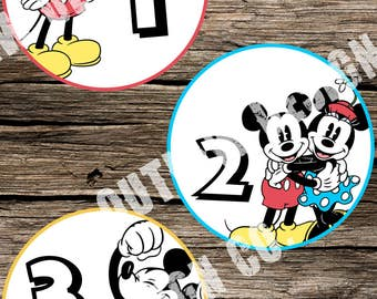 Baby Monthly Milestone Markers Printable Instant Download Classic Vintage Retro Mickey Minnie Mouse Disney Neutral Boy Girl Nursery