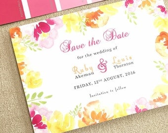 Summer Brights // customisable summer floral watercolour wedding save the dates