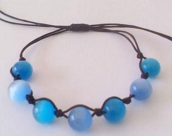 Blue Cat's Eye, Braided Woman's Bracelet