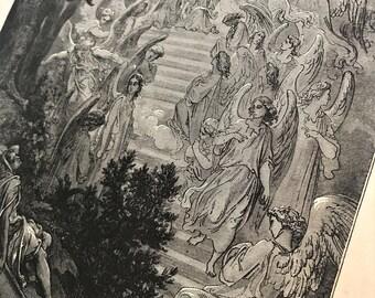 Original Antique 1800's biblical illustration lithograph ANGELS OF GOD descending Easter Christianity black and white etching artwork