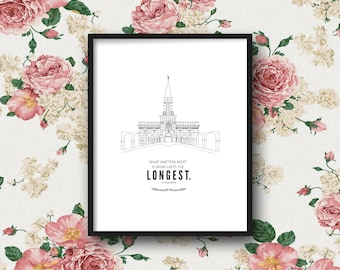 LDS Bountiful Temple Print & Quote | 5x7, 8x10, 11x14 | Digital Print | Instant Download