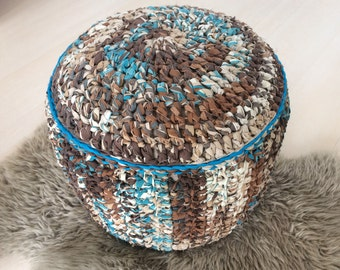 Multi coloured blue, teal, brown, cream crocheted firm base pouffe pouf footstool knitted ottoman