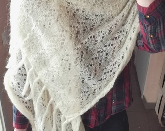 Hand knit white soft scarf