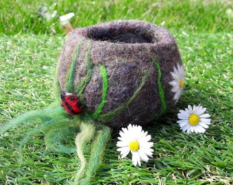 Decorative wool felted vessel