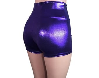 Purple Metallic High Waisted Booty Shorts - club or rave wear - Crossfit - Running