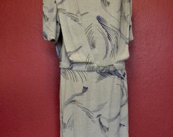 Vintage I. Magnin Abstract Grey/Navy Drop Waist Dress