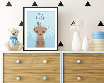 Suricata, Meerkat, Woodland Nursery, Suricata Nursery, Animal print, Boy nursery, Blue, Art, Baby Shower Gift, Nursery Decor, forest friends