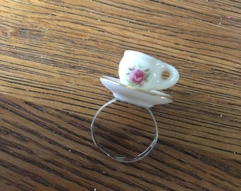 Miniature teacup ring - Vintage doll house - upcycled - floral rose flower pattern design - adjustable
