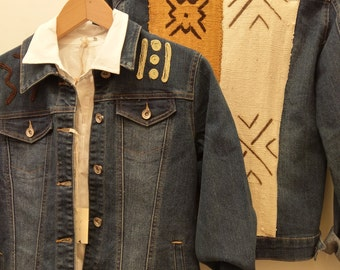Jacket stretch denim ethnic