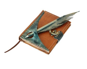 Handmade leather diary with pen