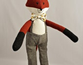 Jemmy Fox, handmade heirloom soft toy, stuffed animal, fox toy, fox stuffed animal
