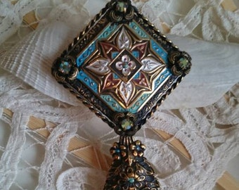 Vintage mini mirror - magical mini hand mirror with elaborate decor, rare, antique, brass, Rhinestones, flowers, collectible