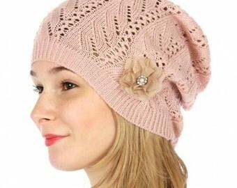 Pink Knitted Beanie Rose Rhinestone Beanie Embellished Beanie Pink Knit Hat Flower Hat Beanie with Flower Womens Knit Hat FREE U.S. SHIPPING