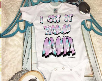 I Got it from My Momma/Baby Bodysuit/Baby Shower Gift/Graffiti Bodysuit/Traditional with a Twist Baby Clothes