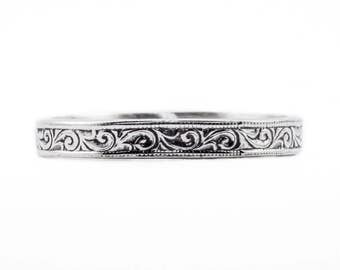 Edwardian Wedding Band Ring. Victorian scrolls swirls antique reproduction shadow 14k 18k yellow white green rose gold 950 cobalt platinum