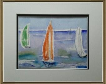 Abstract Original Watercolor Sailboats