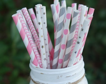 Pink and Silver Paper Straws, Baby Shower, Bridal Shower, Wedding