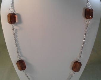 Extra long necklace silver chain root beer glass beads