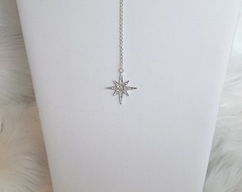 Silver starburst choker, lariat, y necklace, statement necklace, ribbon choker