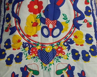Bunny, Duck, Ribbons Bright Colour Cot Quilt or toddler bed Machine Quilted