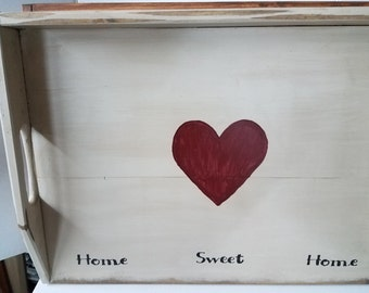 Country Primitive Stove Board Noodle Board Cutting Board w/ Heart Home Sweet Home Serving Tray