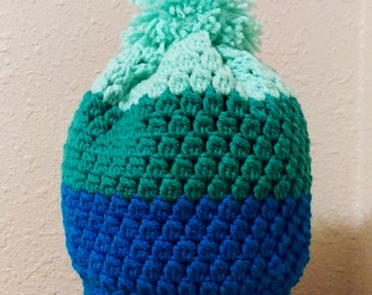 Striped Crochet Hat with Pom Pom