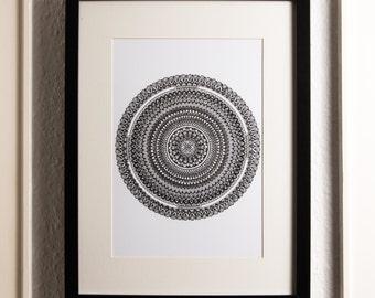 "Hand drawn mandala ""Growth"" A4 art print"