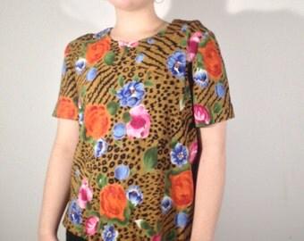 Floral Leopard Vintage Top