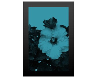 Hibiscus Flower, Modern Art Print on Blue, Tropical Wall Decor, Flower Instant Download