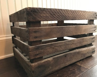Vintage slatted wooden crate