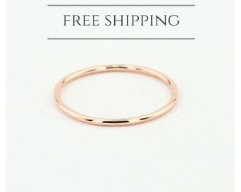 14K Solid Rose Gold Wedding Band/ 1 MM Rose Gold Ring/ Plain Rose Gold Band/ Dainty Stacking Ring/ Simple Delicate Ring/ Thin wedding band