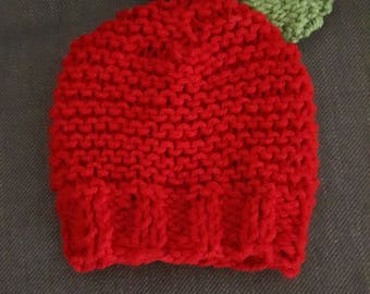Red Apple Baby Knit Hat