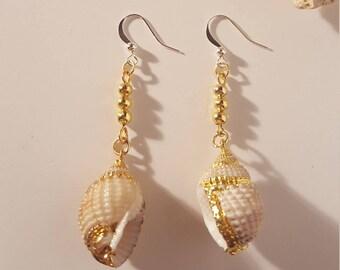 Golden Seashell Dangle Earrings
