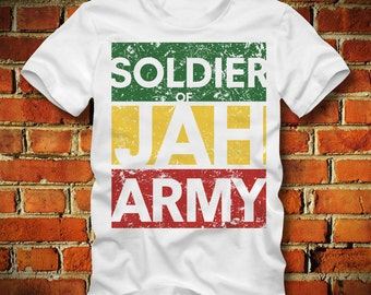 BOARDRIPPAZ Rastafari T SHIRT Soldier of Jah Army Rasta Haile Selassi Bob Marley Ganja Marihuana Weed Pot Rastafari Shirt Roots Rock Reggae