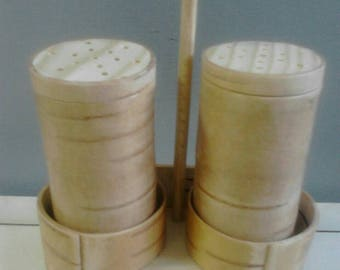 Salt and pepper cellars made of birch bark