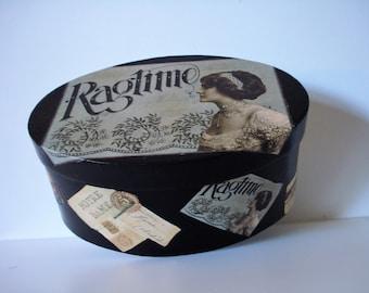 cardboard box decorated-decoupage