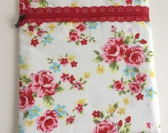 White vintage floral cosmetics makeup bag