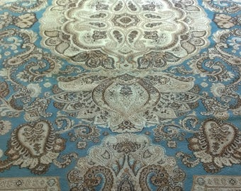 Wool rug in brown and blue tones / wool in shades of Brown and blue rug